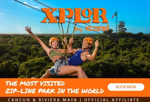 Xplor Park the coolest adventure park with zip lines, amphibious, rafts & underground rivers, include buffet meals at Cancun & Playa del Carmen.