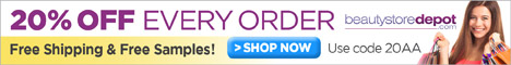 20% Off + Free Shipping at beautystoredepot, code 20AA