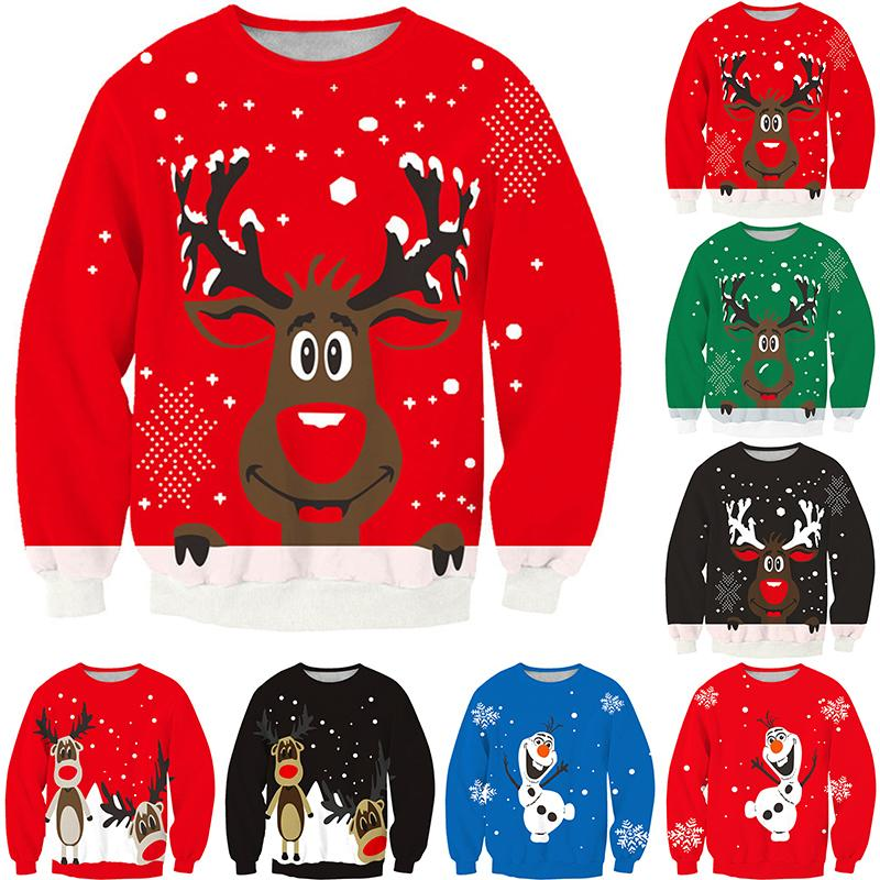 Merry Christmas Women Men Sweater Xmas Party Long Sleeve Snowflake Reindeer Outerwear Tops Free Size