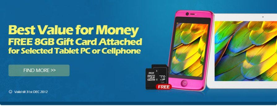 Get a FREE 8GB memory card, with a purchase of selected cell phone or tablet pc