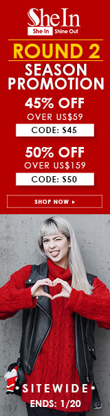 Save up to 50% off  during the Season Promotion: Round 2 at SheIn! Ends 1/20