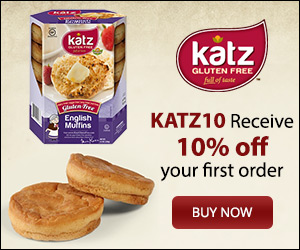 Affiliate link for 10 percent off your first order of Katz gluten free using the coupon code KATZ10. Click this image to purchase.