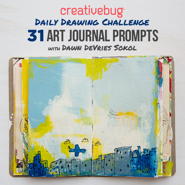 art journaling inspiration, be inspired, CrativeBug, Dawn DeVries Sokol, doodler, ignite your creativity, Intuitive Painting, online course, Daily Drawing Challenge