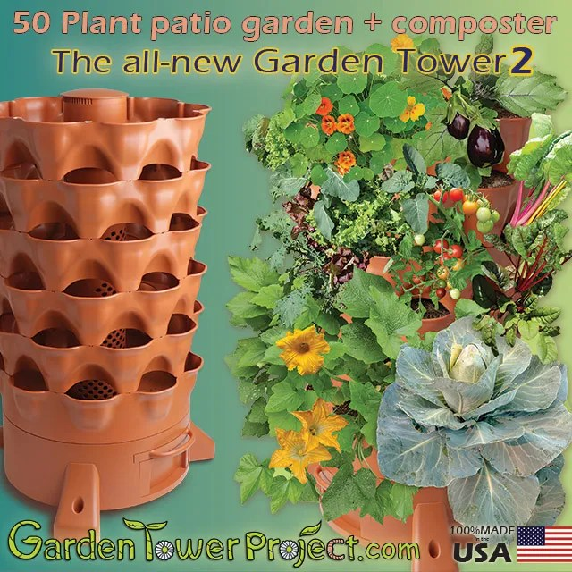 Garden Tower 2 50-Plant Composting Container Garden