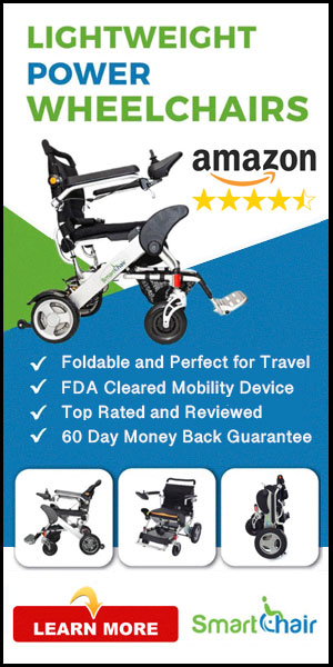 Lightweight foldable power wheelchairs.