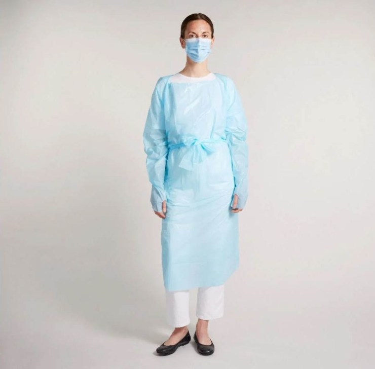 Disposable Apron Gown, Level 1,Open Back, Blue, Ca