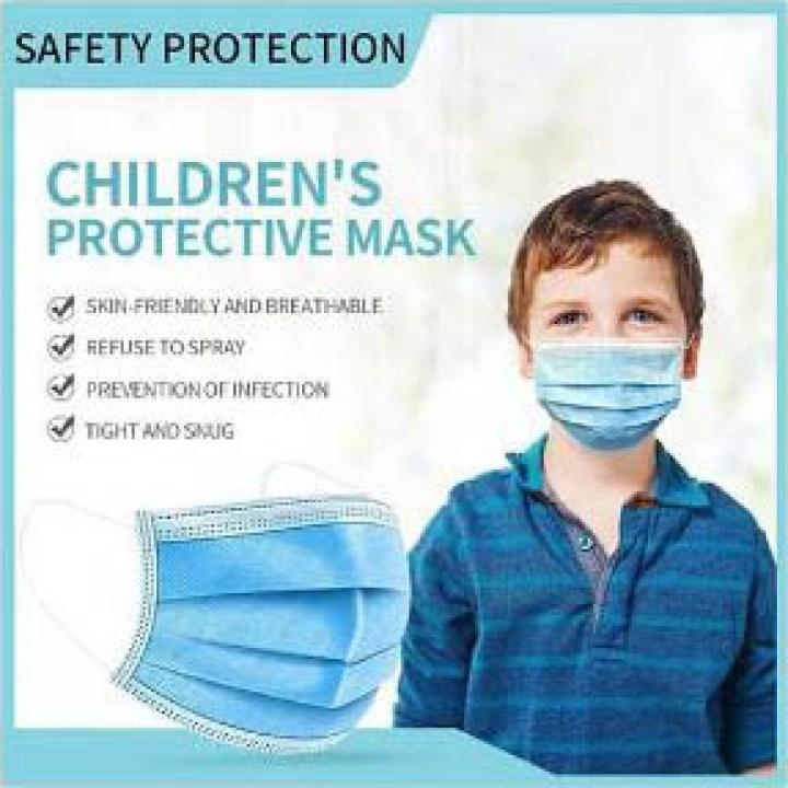 Children's 3 Ply Disposable Face Mask, Blue, Box of 50