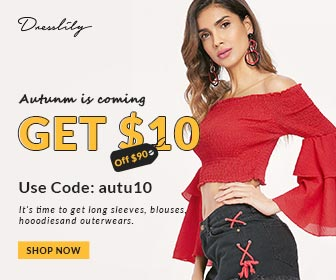 "GET $10 OFF for orders $90+ with Code ""autu10"" for all orders at Dresslily.com! Ends: 8/9/2018"