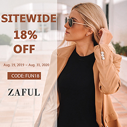 Extra 18% off sitewide at ZAFUL Code: FUN18 Expire: 8/31, 2020