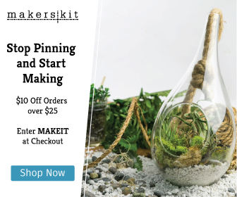 "MakersKit -Stop pinning and start making. $10 off orders over $25, enter ""MAKEIT"" at checkout."