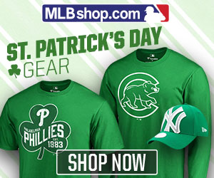 Gear up in Green for St. Patrick's Day in team logo MLB gear from MLBShop.com