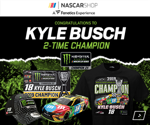 Kyle Busch is a 2 Time NASCAR Cup Champion - Get your Champs Gear at Store.NASCAR.com