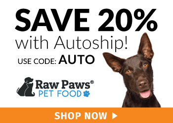 Save 20% on Autoship with code AUTO at RawPawsPetFood.com