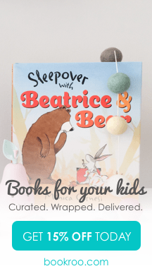 Picture of an adorable picture book called Sleepover with Beatrice and Bear. Text says Books for your kids. Curated. Wrapped. Delivered. Get 15% off today at bookroo.com
