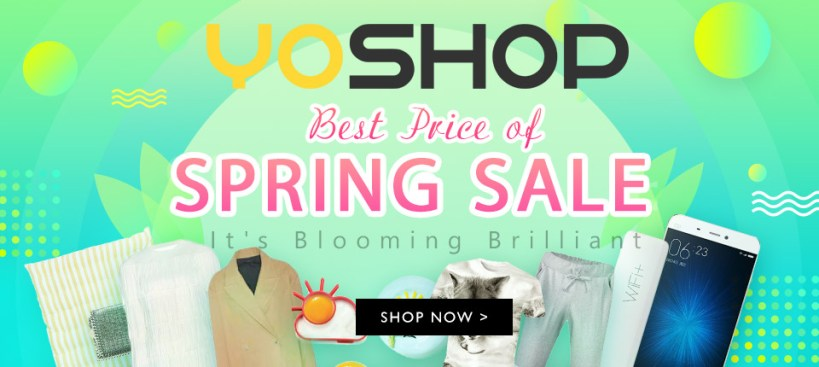 "Let's dive in Yoshop's spring big sale! Enjoy $6 OFF $50+ with coupon ""spg6"", $12 OFF $80+ with coupon ""spg12"", $20 OFF $100+ with coupon ""spg20"". Shop now!"