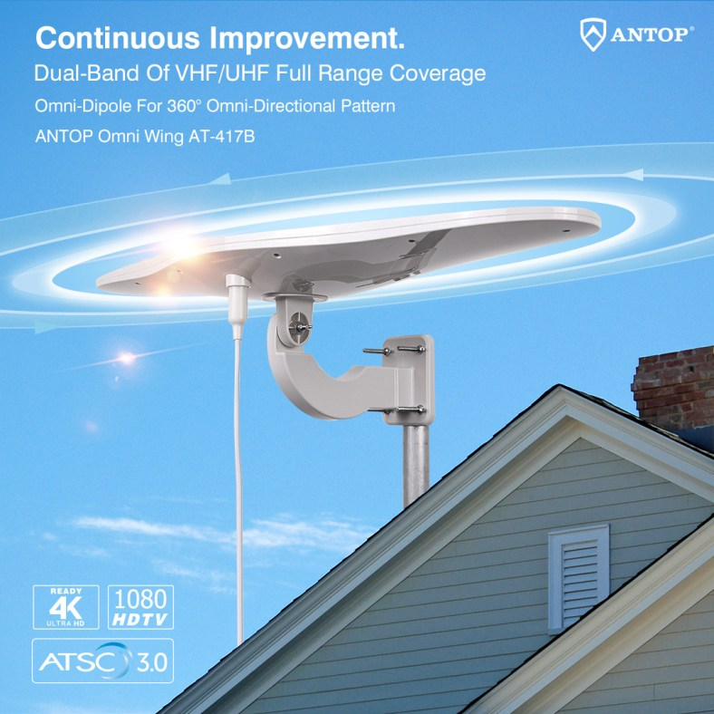 ANTOP Omni Wing Outdoor HDTV Antenna AT-417B, complete 360° reception with full RF range coverage. Special Introductory Price Available. Shop Now