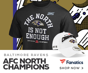 Baltimore Ravens 2019 AFC North Champs Fan Gear at Fanatics
