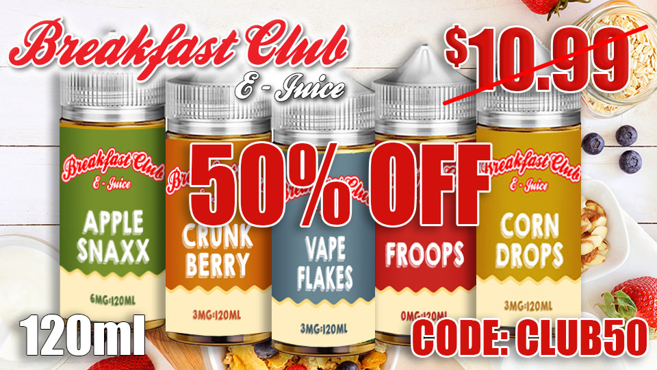50% OFF BREAKFAST CLUB 120ML EJUICE CONNECT