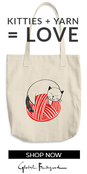 Kitty on Red Yarn Ball Tote Bag
