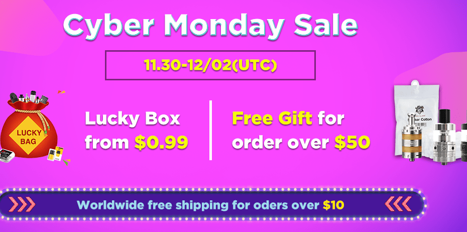 Vapeciga Cyber Monday Sale, free gift for order over $50
