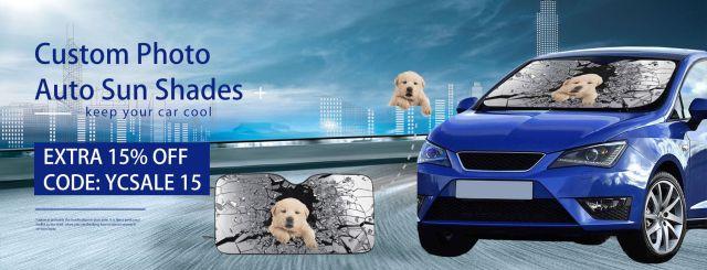 Keep Your Car Cool- Custom Photo Auto Sun Shades!