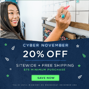 Save 20% sitewide on orders over $75+ and it also includes FREE SHIPPING!