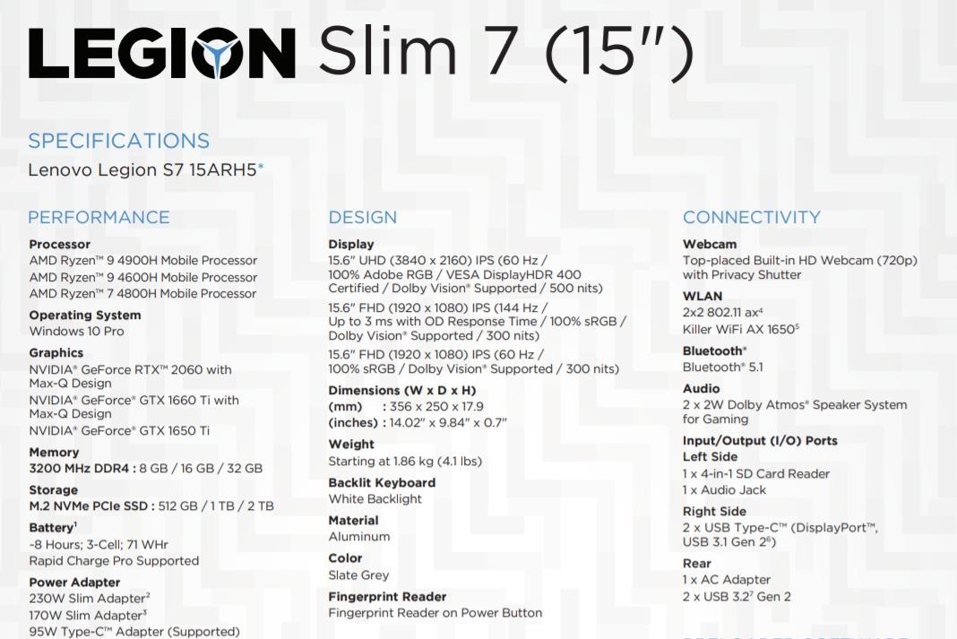 Ryzen 4900H işlemcili Lenovo Legion Slim 7 tanıtıldı 2