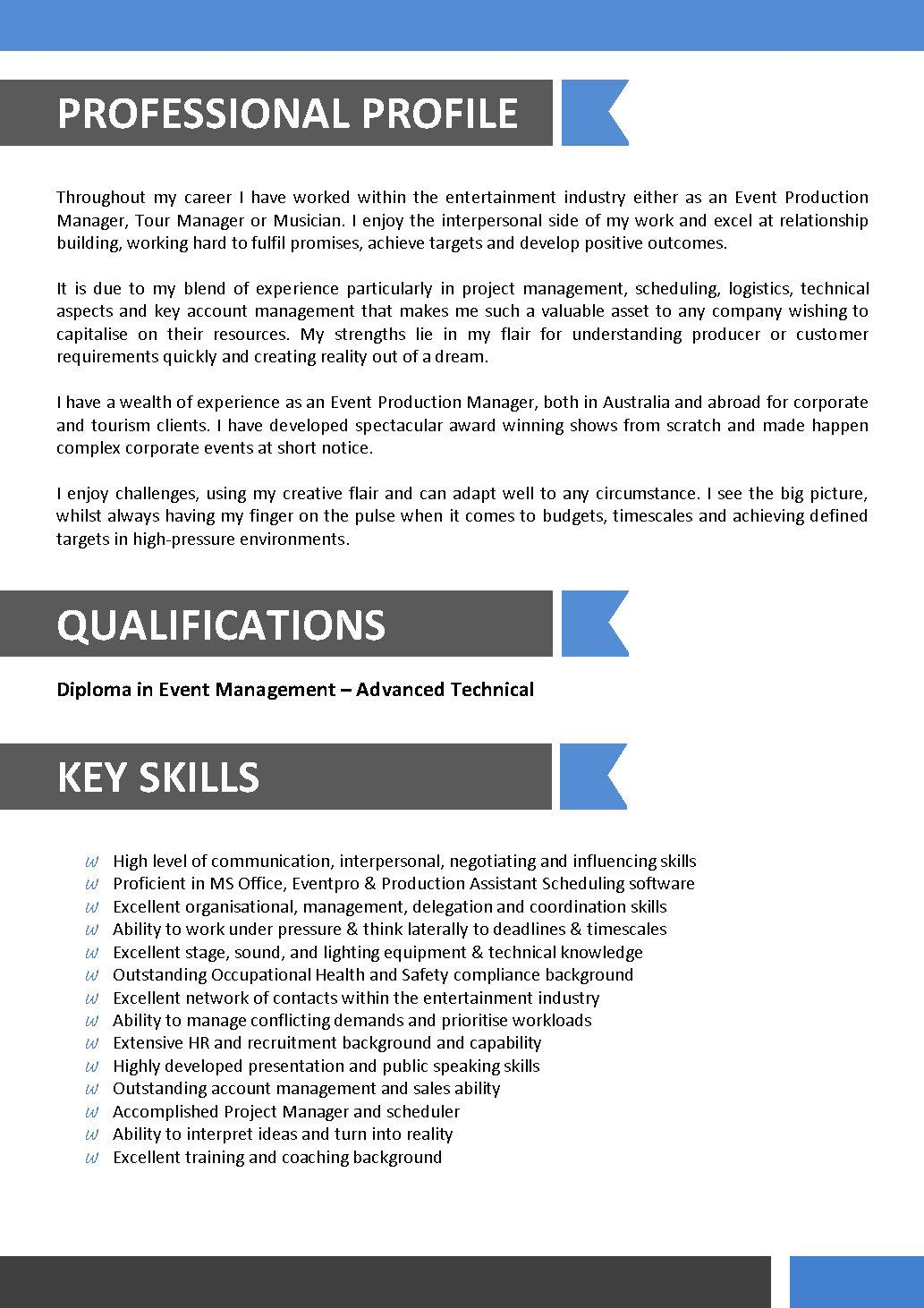 Entertainment Resume Template entertainment executive resume – Tour Manager Resume