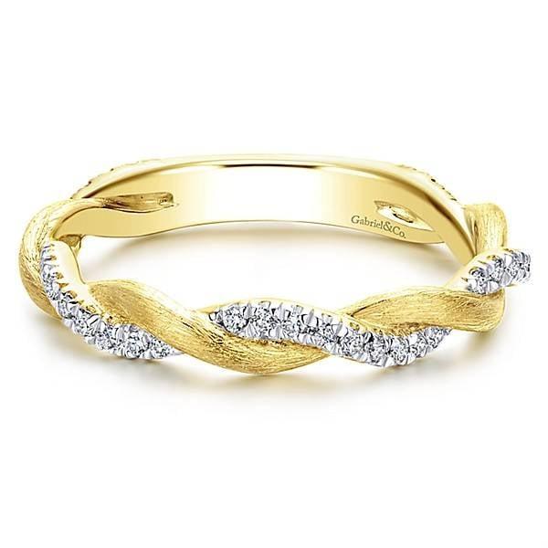 Twisted Yellow Gold Diamond Ring Freedman Jewelers