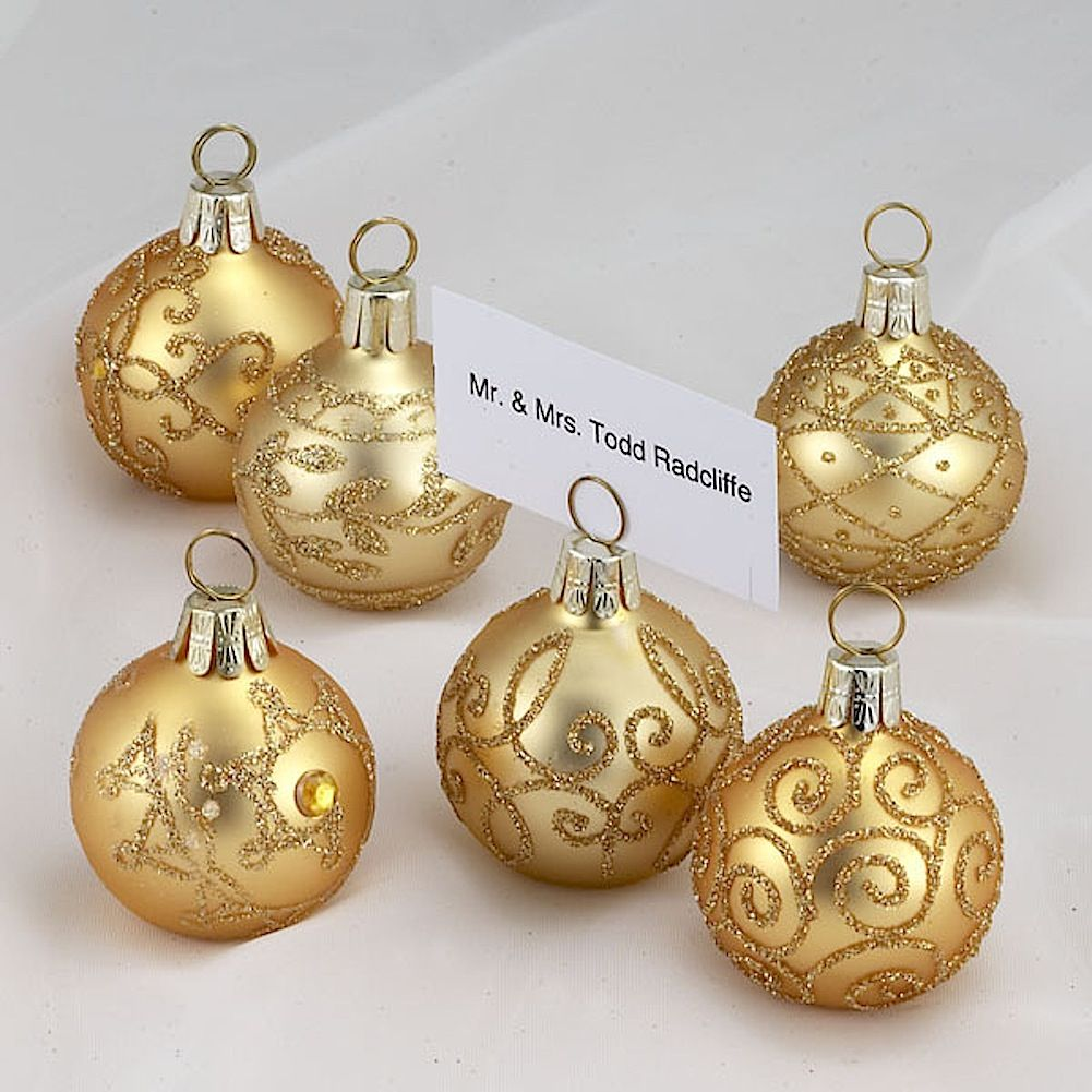 Christmas Place Card Holders Ball Ornaments Set Of 6 C3874