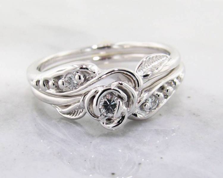 Diamond White Gold Wedding Ring Set  Tea Rose   Wexford Jewelers Signature Rose Diamond White Gold Wedding Set