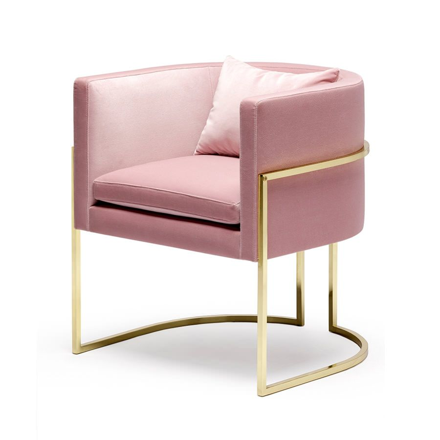Julius Chair Brushed Brass And Pink Velvet Various