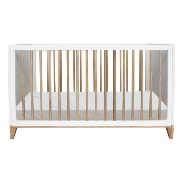 nami extendable cedar and rattan weave bed 70x140cm white