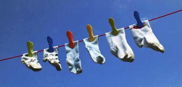 Socks Hanging on a Clothesline