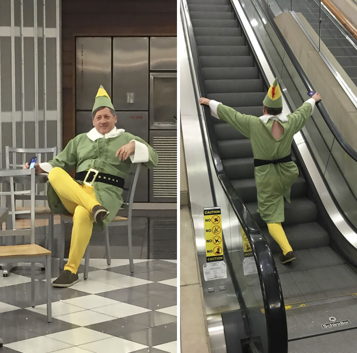 My Dad Dressed Up As Buddy The Elf To Pick Me Up From The Airport