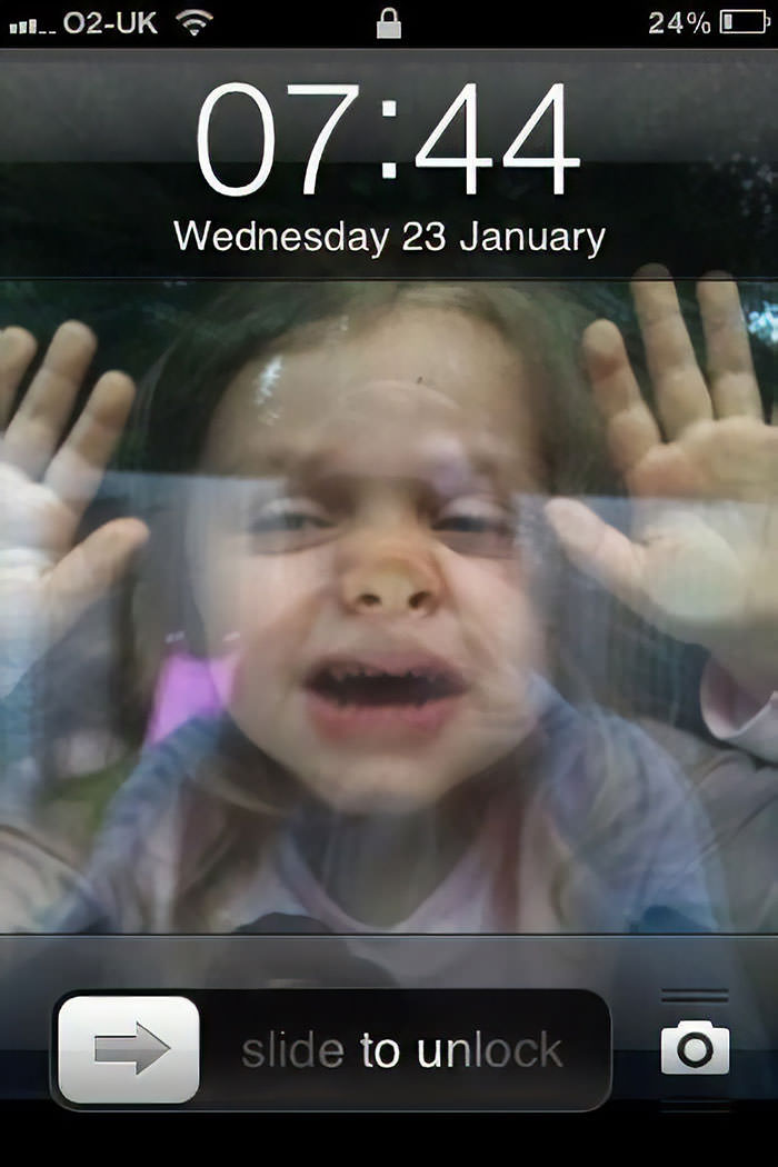 1) Get Your Child To Squash Up Against A Window 2) Take Photo 3) Set As Phone Background 4) Child Is