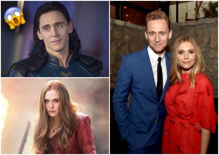 Tom Hiddleston y Elizabeth Olsen abrazados por la espalda, Loki, Bruja escarlata