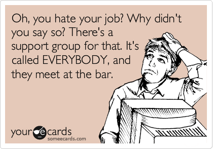 someecards.com - Oh, you hate your job? Why didn't you say so? There's a support group for that. It's called EVERYBODY, and they meet at the bar.