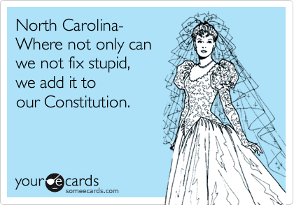 someecards.com - North Carolina- Where not only can we not fix stupid, we add it to our Constitution.