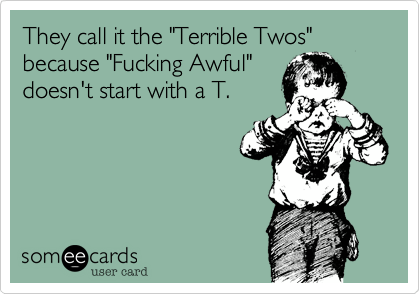 Funny Baby Ecard: They call it the 'Terrible Twos' because 'Fucking Awful' doesn't start with a T.