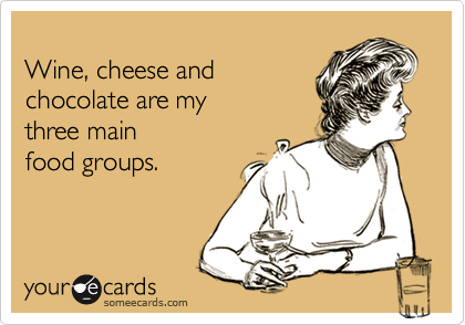 Funny Confession Ecard: Wine, cheese and chocolate are my three main food groups.