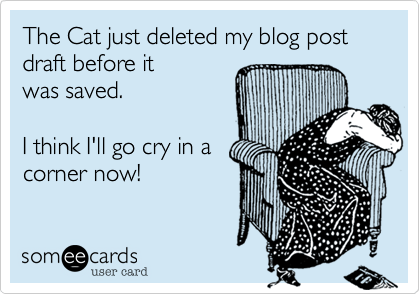 someecards.com - The Cat just deleted my blog post draft before it was saved. I think I'll go cry in a corner now!