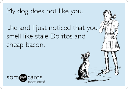 Funny Breakup Ecard: My dog does not like you. ...he and I just noticed that you smell like stale Doritos and cheap bacon.