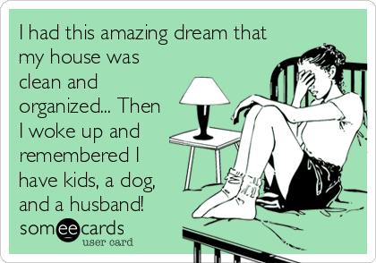 someecards.com - I had this amazing dream that my house was clean and organized... Then I woke up and remembered I have kids, a dog, and a%2