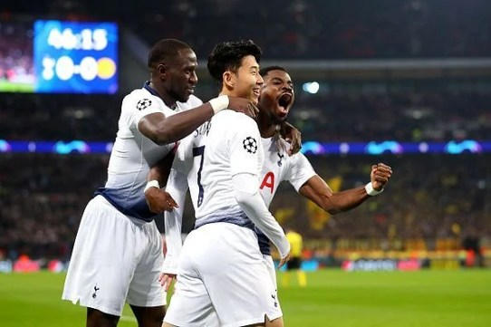 Tottenham players celebrate after Son's timely opener just minutes into the second-half