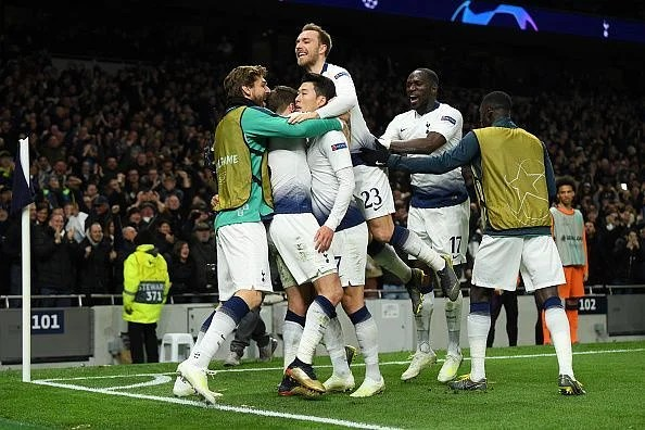 Tottenham players celebrate Son's goal during their 1-0 win over Manchester City in the UCL QF first leg