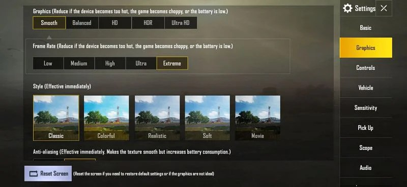 Best Graphics Settings for PUBG Mobile