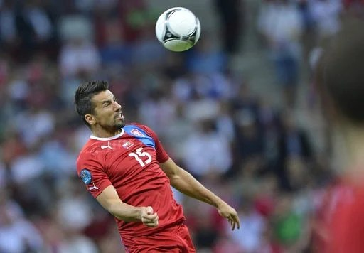 Czech forward Milan Baros pictured during his side's Euro 2012 quarter-final against Portugal in Warsaw on June 21, 2012
