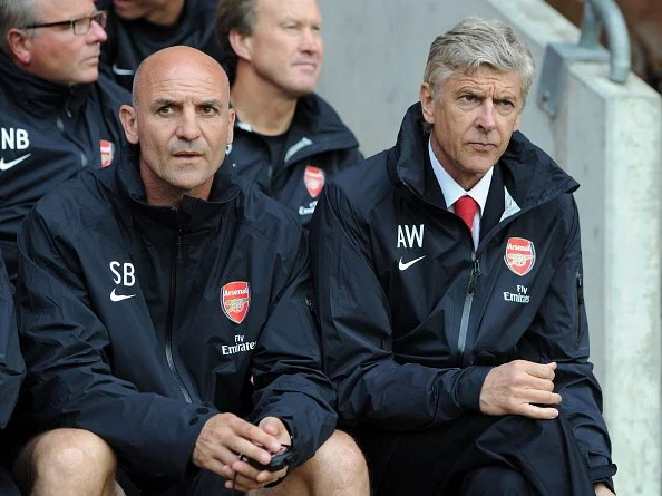 Arsene Wenger the Arsenal Manager and his Assistant Manager Steve Bould. (Getty Images)