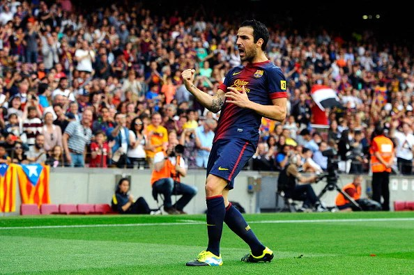 Cesc Fabregas is used as a 'False 9' by Spain and Barcelona